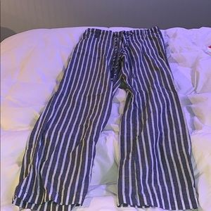 grey and white stripped pants size small